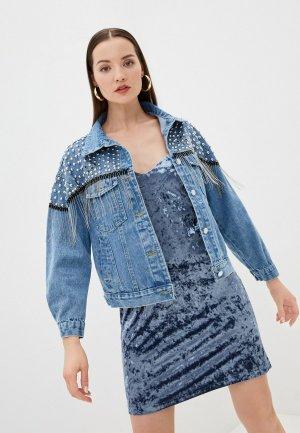 Куртка джинсовая Miss Gabby. Цвет: синий