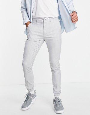 Классические зауженные брюки из мягкой ткани в тонкую полоску со шнурком на поясе -Серый ASOS DESIGN