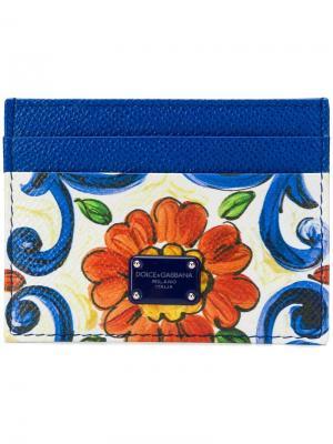 Визитница с цветочным принтом Dolce & Gabbana. Цвет: белый