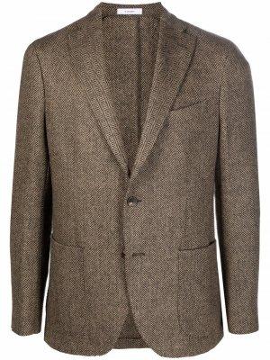 Однобортный пиджак с узором в елочку Boglioli. Цвет: коричневый