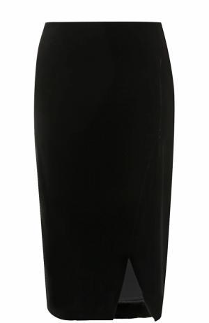 Бархатная юбка-миди с разрезом Giorgio Armani. Цвет: черный