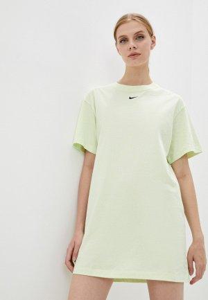 Платье Nike W NSW ESSNTL SS DRSS. Цвет: зеленый