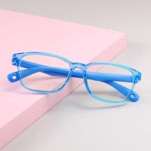 Детский Очки с защитой от синего света в квадратной оправе SHEIN. Цвет: синий