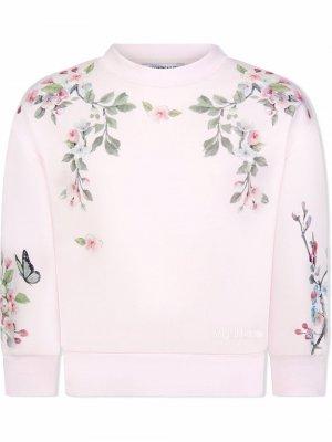 Floral-print sweatshirt Monnalisa. Цвет: розовый