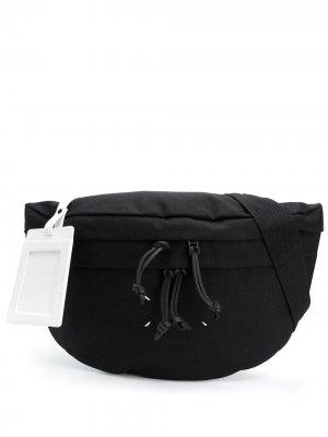 Поясная сумка с декоративной строчкой Maison Margiela. Цвет: черный