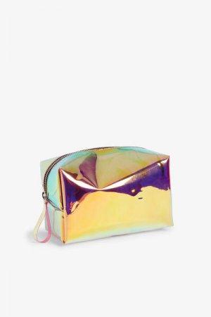 Прямоугольная косметичка Monki. Цвет: фиолетовый, разноцветный
