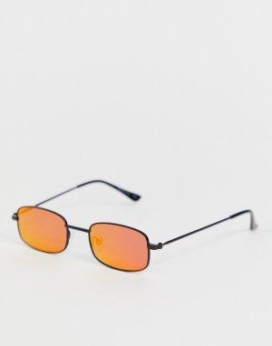 Прямоугольные солнцезащитные очки с красными стеклами и цепочкой -Красный Bershka