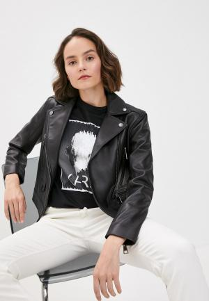 Куртка кожаная Karl Lagerfeld IKONIK. Цвет: черный