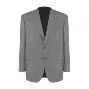 Однобортный пиджак из смеси шерсти и шелка со льном Brioni. Цвет: серый