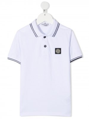Logo-patch polo shirt Stone Island Junior. Цвет: белый