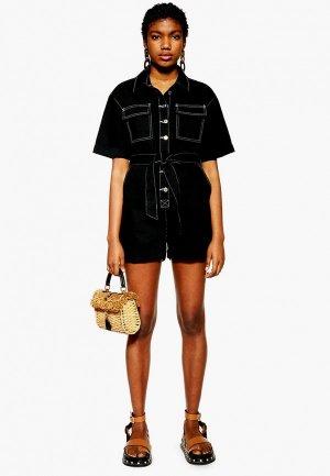 Комбинезон джинсовый Topshop. Цвет: черный