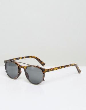 Солнцезащитные очки с черепаховой оправой в стиле ретро Selected Homme. Цвет: черный