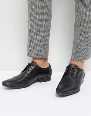 Черные кожаные броги Silver Street. Цвет: черный