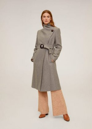 Пальто с большими лацканами, шерстью - Venus6 Mango. Цвет: пастельный светло-коричневый
