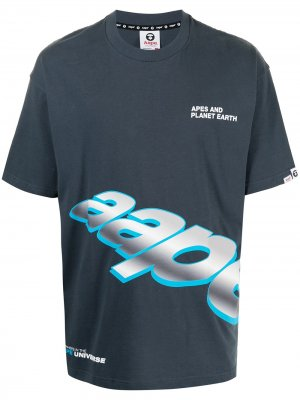 Футболка с логотипом AAPE BY *A BATHING APE®. Цвет: синий