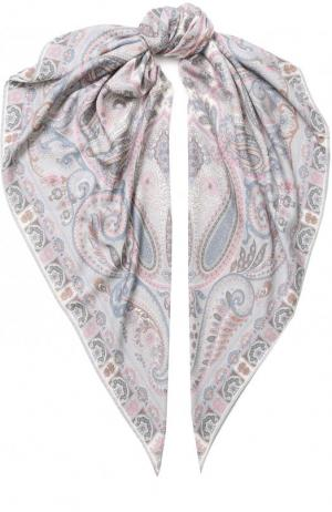 Платок из смеси кашемира и шелка с принтом Michele Binda. Цвет: светло-розовый