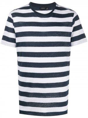 Полосатая футболка с короткими рукавами J Lindeberg. Цвет: синий