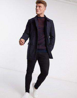 Двубортное пальто-бушлат -Темно-синий French Connection