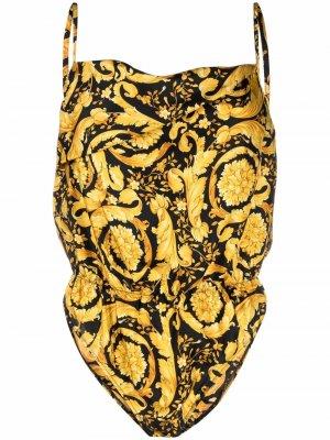 Боди с принтом Barocco Versace. Цвет: золотистый