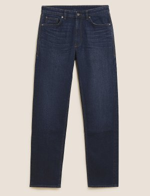 Джинсы прямого кроя в винтажном стиле M&S Collection. Цвет: индиго