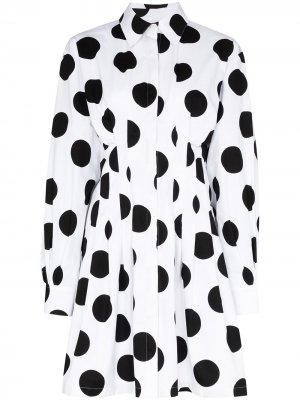 Платье-рубашка в крупный горох Carolina Herrera. Цвет: белый