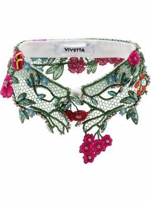 Кружевной воротник с цветочной вышивкой Vivetta. Цвет: зеленый