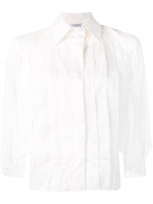 Блуза с рукавами кейп 2000-х годов Chanel Pre-Owned. Цвет: белый