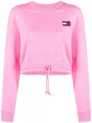 Укороченная толстовка с вышитым логотипом Tommy Jeans. Цвет: розовый