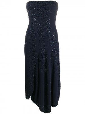 Платье асимметричного кроя без бретелей Donna Karan. Цвет: синий