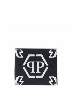 Бумажник с монограммой Philipp Plein. Цвет: черный