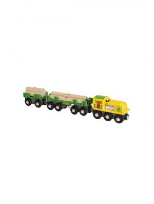 Товарный поезд BRIO Лесовоз,3 вагона,4 бревна на магнитах. Цвет: прозрачный