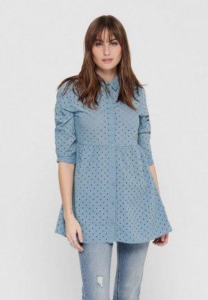 Блуза Jacqueline de Yong. Цвет: голубой