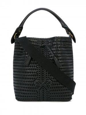Плетеная сумка-ведро с бантом Anya Hindmarch. Цвет: черный