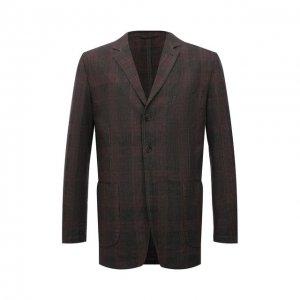 Пиджак из хлопка и льна Aspesi. Цвет: коричневый
