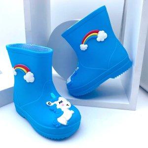 Резиновые сапоги с мультипликационным узором для мальчиков SHEIN. Цвет: синий