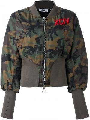 Камуфляжная куртка бомбер Gcds. Цвет: зелёный