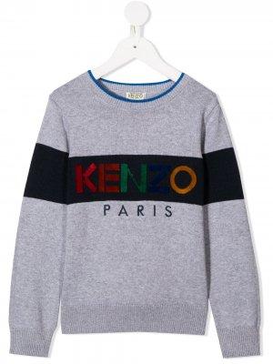 Cotton-cashmere mix logo jumper Kenzo Kids. Цвет: серый