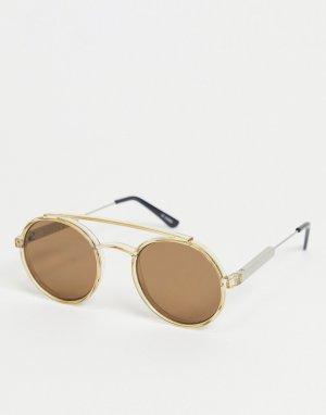 Круглые солнцезащитные очки в стиле унисекс с коричневыми стеклами светло-коричневой оправе Stay Rad-Коричневый цвет Spitfire