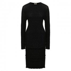 Платье из смеси хлопка и шерсти Acne Studios. Цвет: чёрный