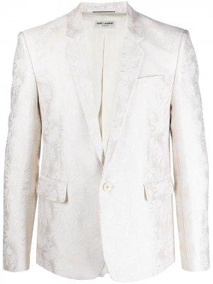 Жаккардовый однобортный пиджак Saint Laurent. Цвет: нейтральные цвета