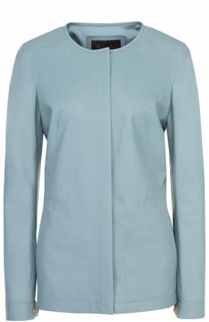 Кожаная куртка прямого кроя с круглым вырезом Loro Piana. Цвет: голубой