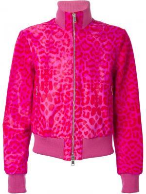 Куртка-бомбер с леопардовым принтом Alexander McQueen. Цвет: розовый и фиолетовый