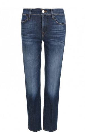 Укороченные джинсы с потертостями Frame Denim. Цвет: синий