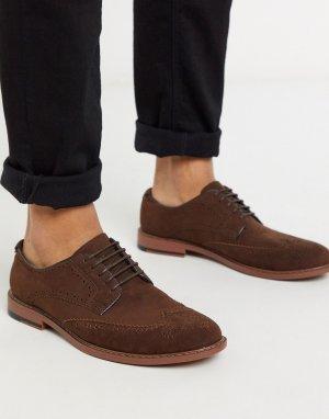 Коричневые туфли-броги из искусственной замши -Коричневый цвет ASOS DESIGN