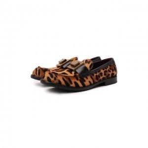 Кожаные лоферы Bernini Dolce & Gabbana. Цвет: леопардовый
