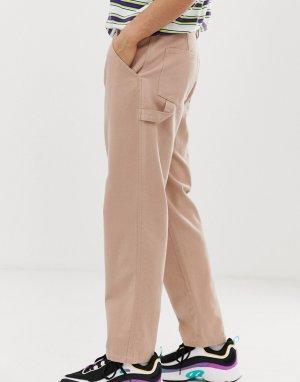Carpenter utility trousers in heavyweight tan canvas ASOS DESIGN. Цвет: бежевый