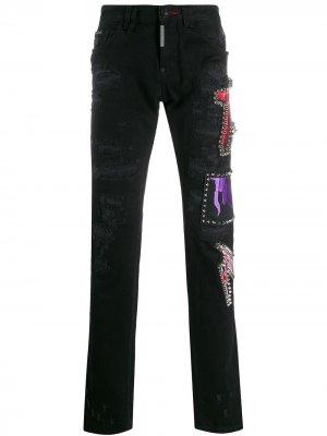 Декорированные джинсы прямого кроя Philipp Plein. Цвет: черный