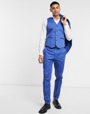 Темно-синий облегающий жилет из хлопка от комплекта wedding-Серый ASOS DESIGN