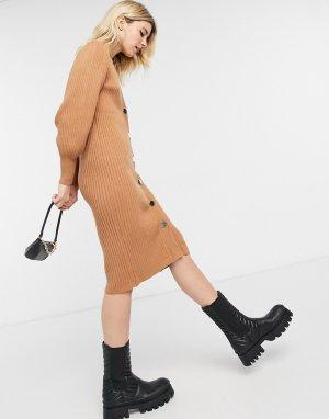 Коричневое удлиненное вязаное платье на пуговицах спереди -Коричневый цвет Object