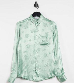 Шалфейно-зеленая атласная рубашка классического кроя с жаккардовым цветочным узором -Зеленый цвет ASOS DESIGN